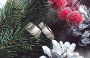 Обручальные кольца из белого золота с матовой поверхностью