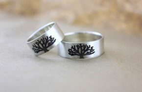 Серебряные обручальные кольца с рисунком