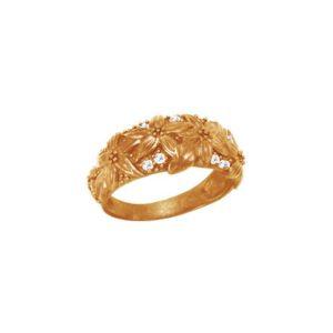 Золотое кольцо с цветами и фианитами