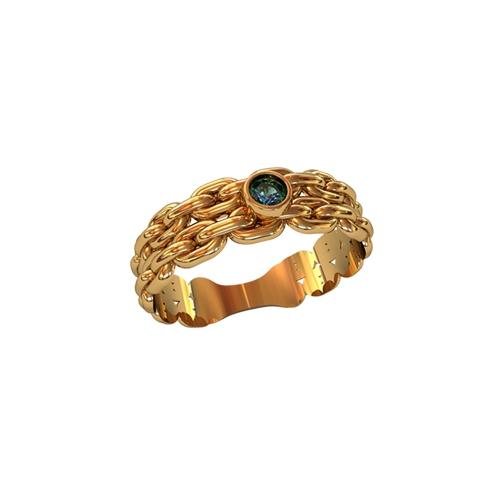 Кольцо с фактурой цепи